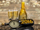 New Year 2016 Champagne Clock Bottle