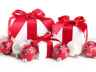 New Year Christmas Gifts White Red Tape (click to view)