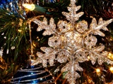 New Year Holiday Tree Snowflake Christmas Toys Close Up