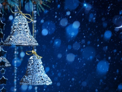 New Year Ornaments Blue Snowfall