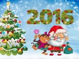 New Year Santa Claus Monkeys