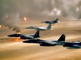 Oil Jet Fighter Desert Smoke Fields Iraq Tiltshift