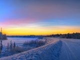 Panorama Sunset Road Winter Snow