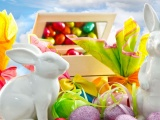 Pascha Eggs Holiday Rabbit Chocolate Box Sky Clouds