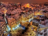 Prague By Night Covered With Snow