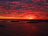 Red Sunset Over New York Harbor