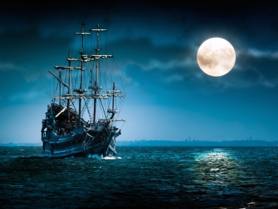 Sailboat Full Moon - Flying Dutchman (click to view)