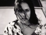 Salma Hayek Brunette Make Upwind Hair Coat Black And White