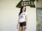 Samantha Erdal Brunette Shorts Shirt Walls Inscriptions