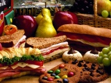 Sandwiches Cookies Bread Grapes Pears Apples
