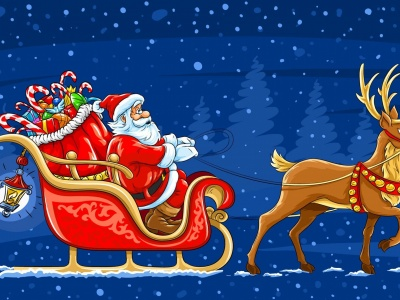 Santa Arrives In A Christmas Sleigh (click to view)