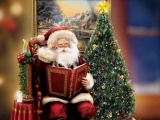 Santa Claus Sitting Tree Picture Christmas Holiday