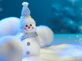 Snowman Balls Snow Snowflakes Winter New Year Christmas
