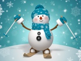Snowman On Skis And With Winter Hat