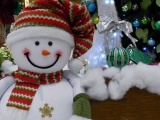 Snowman Smiling Cotton Tree Presents Christmas New Year Holiday