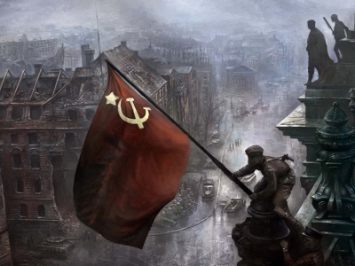 Soviet Soldiers Sets Flag Berlin WW2 (click to view)
