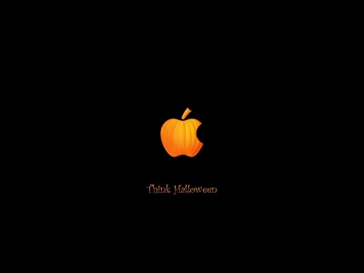 Think Halloween Apple Pumpkin Funny Black Holiday Computer