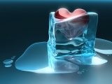 Time Heals All Wounds 3D Cube Frozen Heart Ice Love Melting Red Heart Water