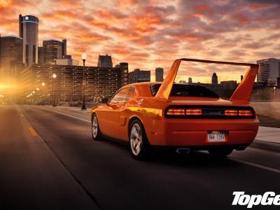 Top Gear Highest Gear Best Tv Program Hpp Superbird Dodge Challenger Rear View Muscle Car Muscle Car Orange Tuning Tuning Lights Spoiler Rear Wing Road City Sky Sunset Car