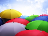 Umbrellas 3D Sky Clouds Colorful