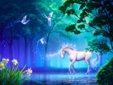 Unicorn In Fantasy Magic Forest