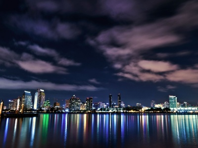 Usa California San Diego Downtown Night Buildings Lights Reflection