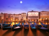Venice Italia Italy City Water Night Moon Buildings Houses Gondolas Boats Water River Canal Lighting Lights Reflection
