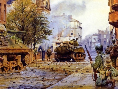 War Americans Tanks City Ruins Devastation Soldiers Battle Sherman Street Smoke Buildings Military Other