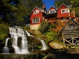Waterfall Architecture Flowers House Leaves Nature River Rocks Sky Trees Waterfall