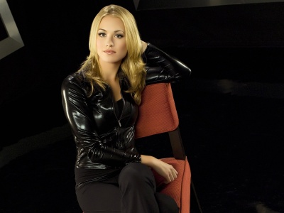 Yvonne Strahovski Blonde Jacket Chair Pants (click to view)