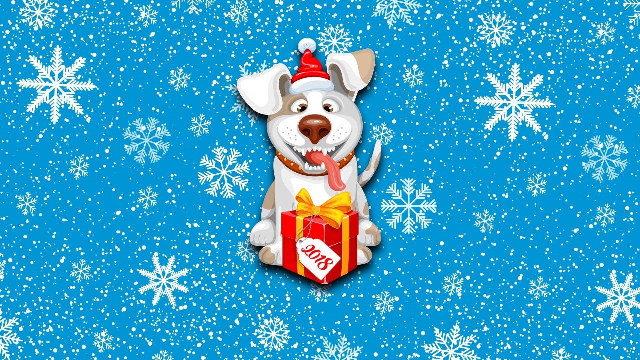 2018 New Year Snow Dog Cute