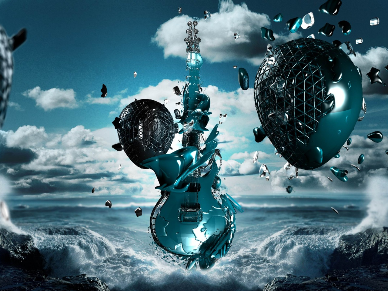 3D Guitar Sea Space Creativity