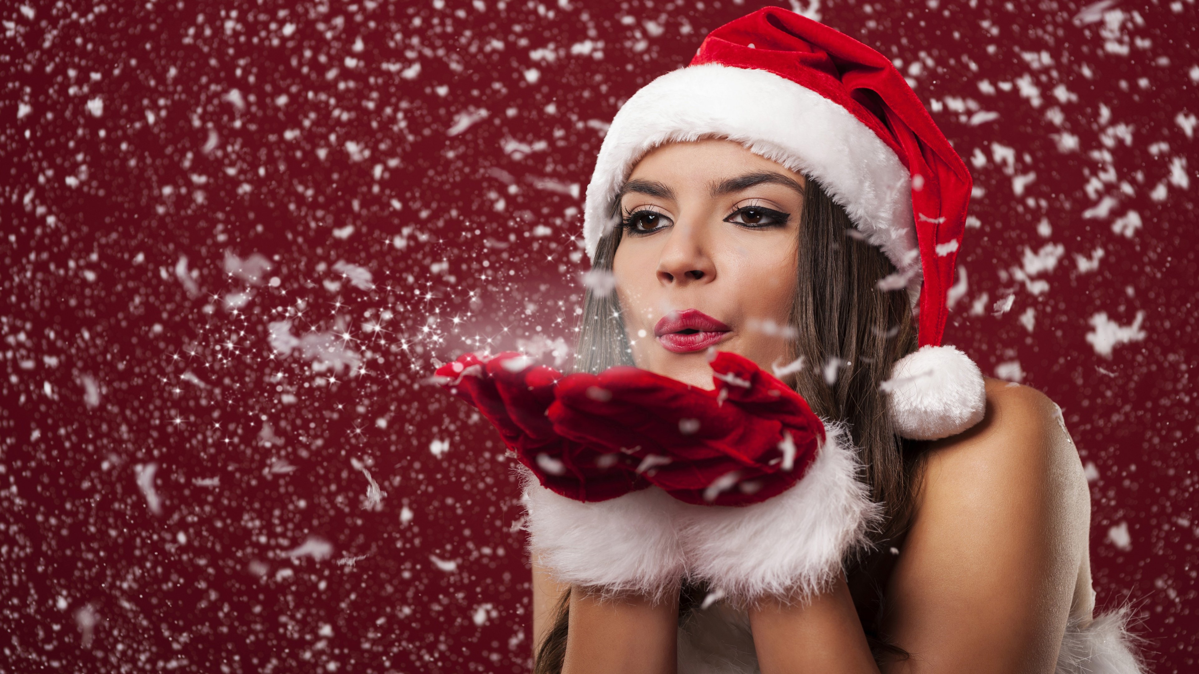 Brunette Girl Holiday Best Wishes