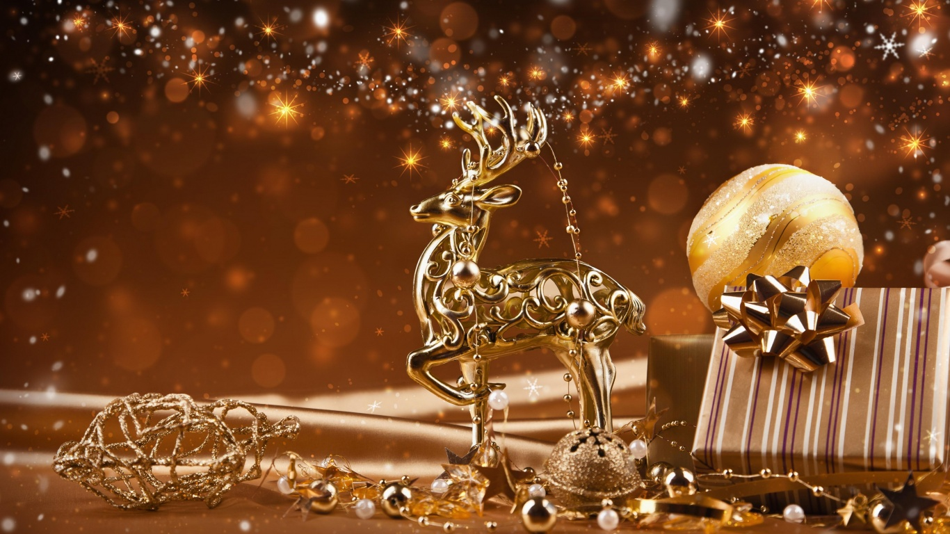 Christmas Ornaments Gold Reindeer