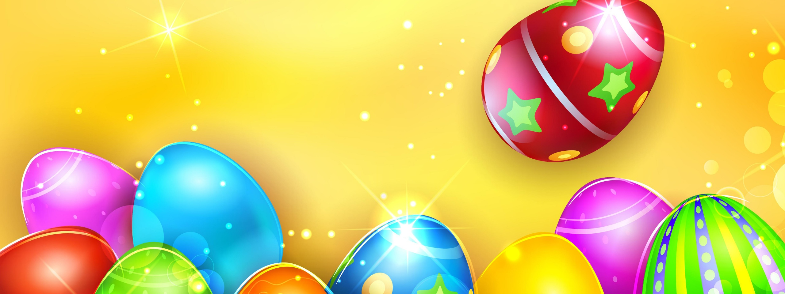 Colorful Shiny Easter Eggs