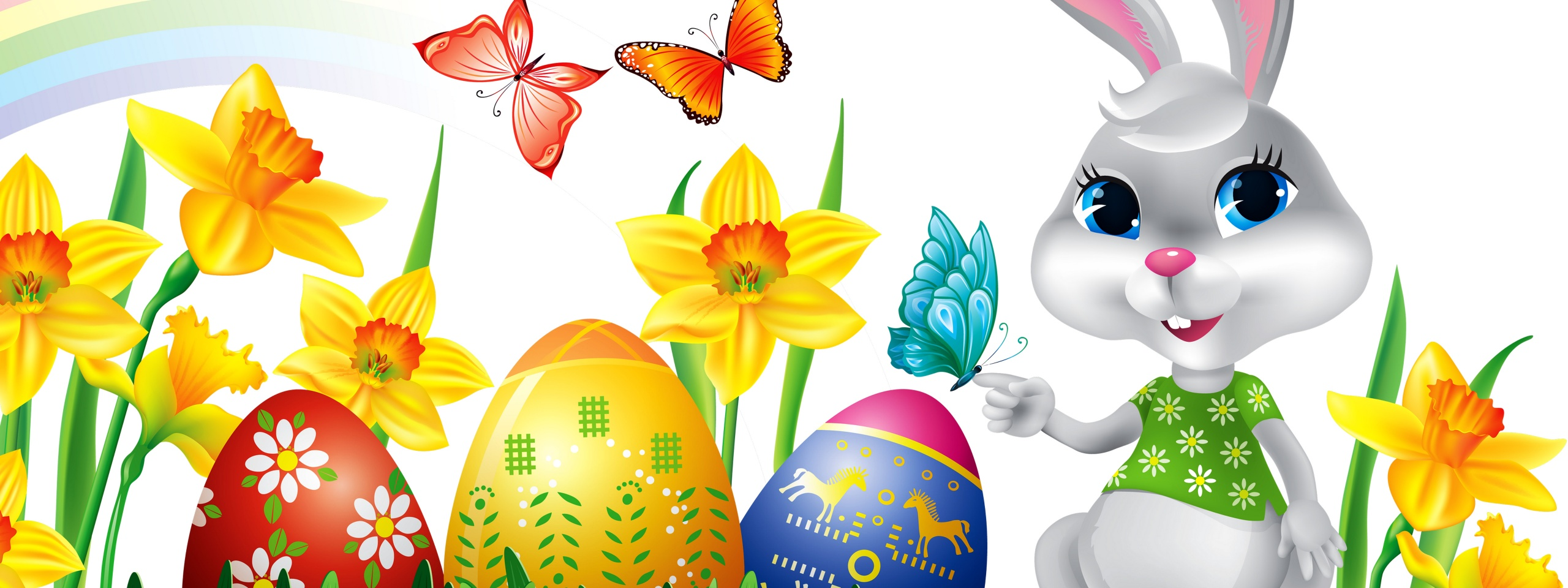 Easter Eggs Rabbit Flowers Butterfly