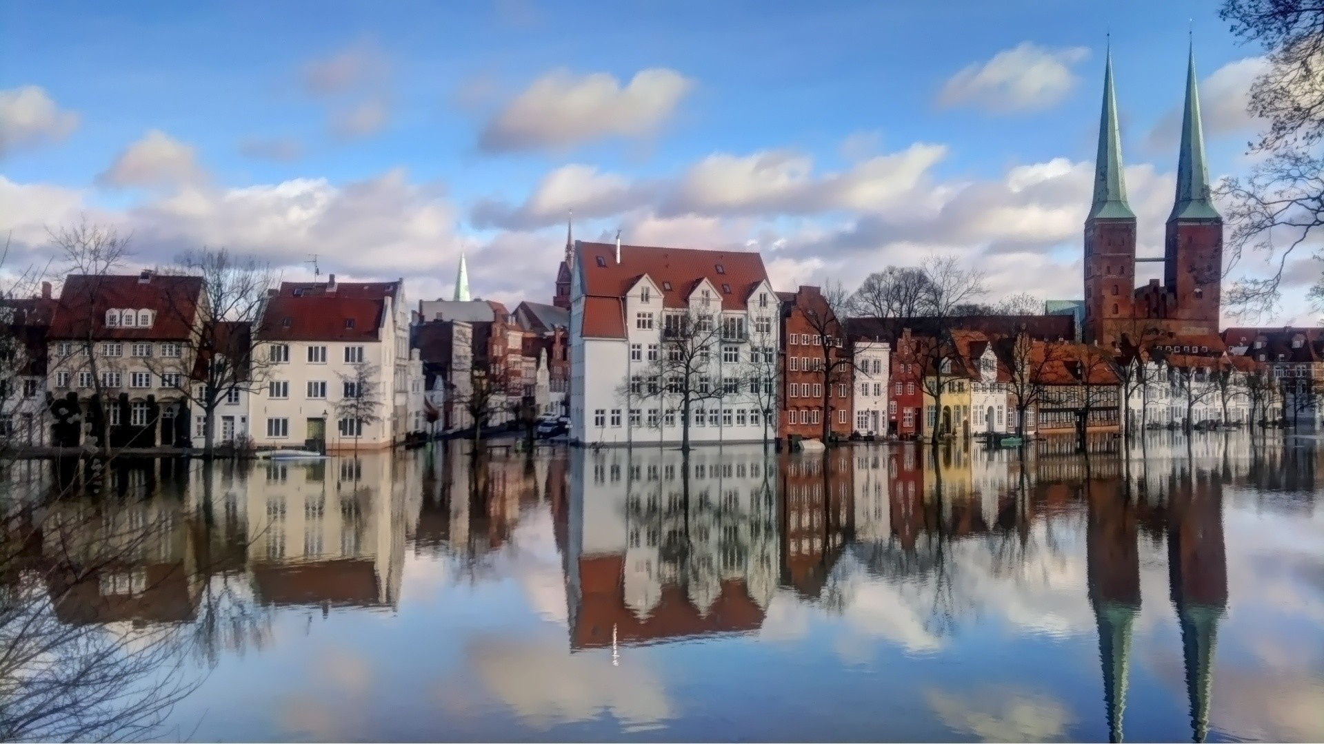 Europe Town Houses Buildings Trees Water Reflection Sky Clouds City