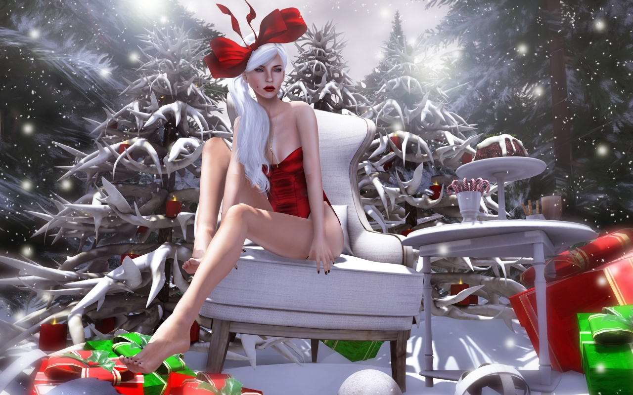 Fantasy Girl Christmas Snow Gifts