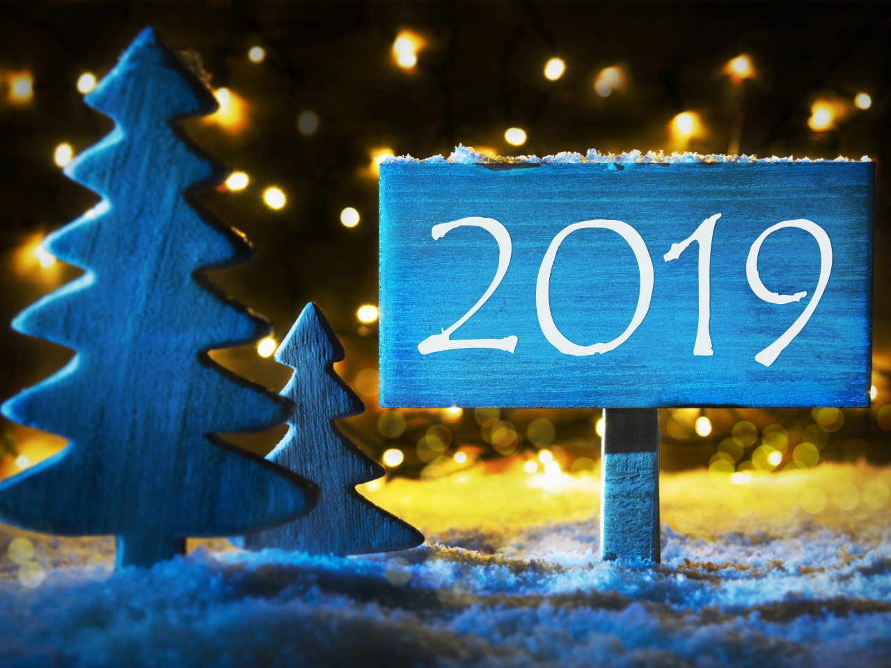 Fir Tree And Sign To 2019 New Year