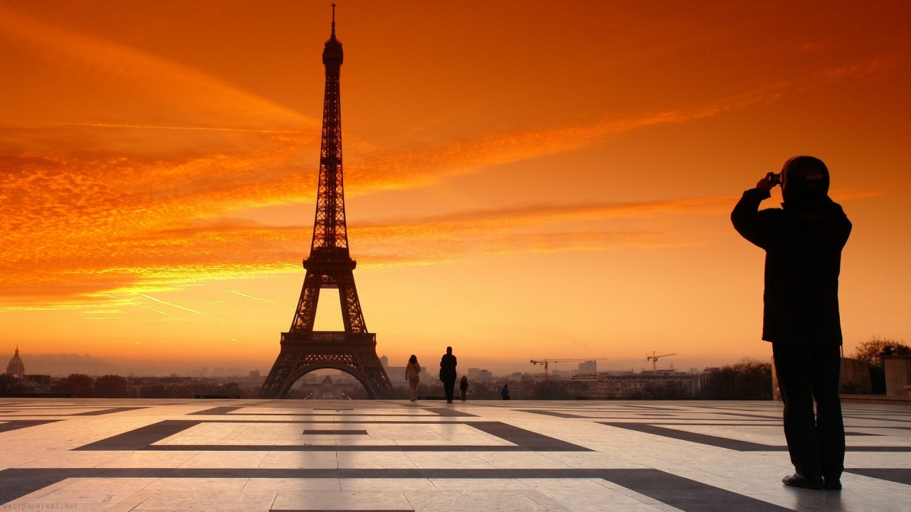 France Paris Evening Sunset People Sky Square Eiffel Tower City Landscape
