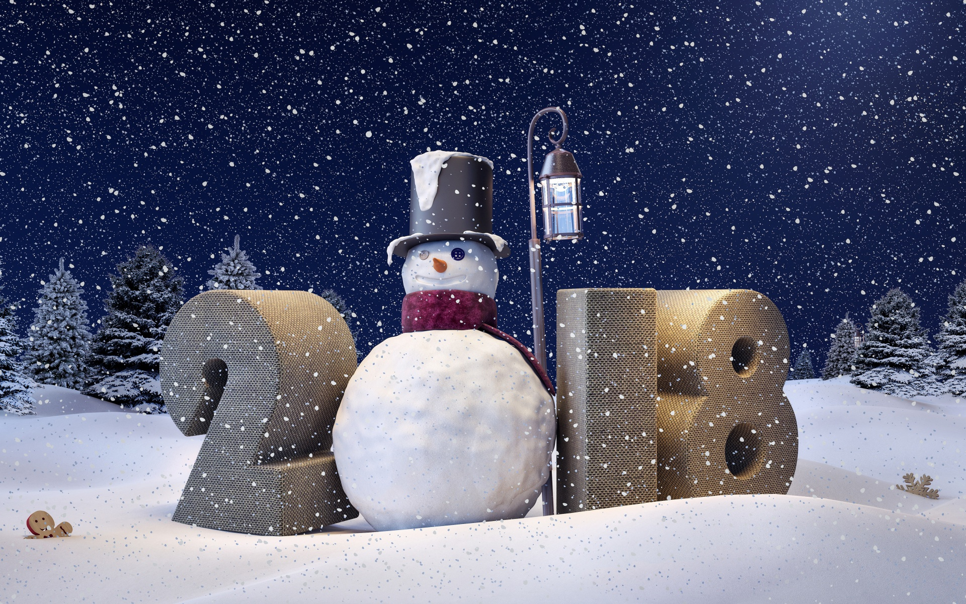 Happy New Year 2018 Snowman