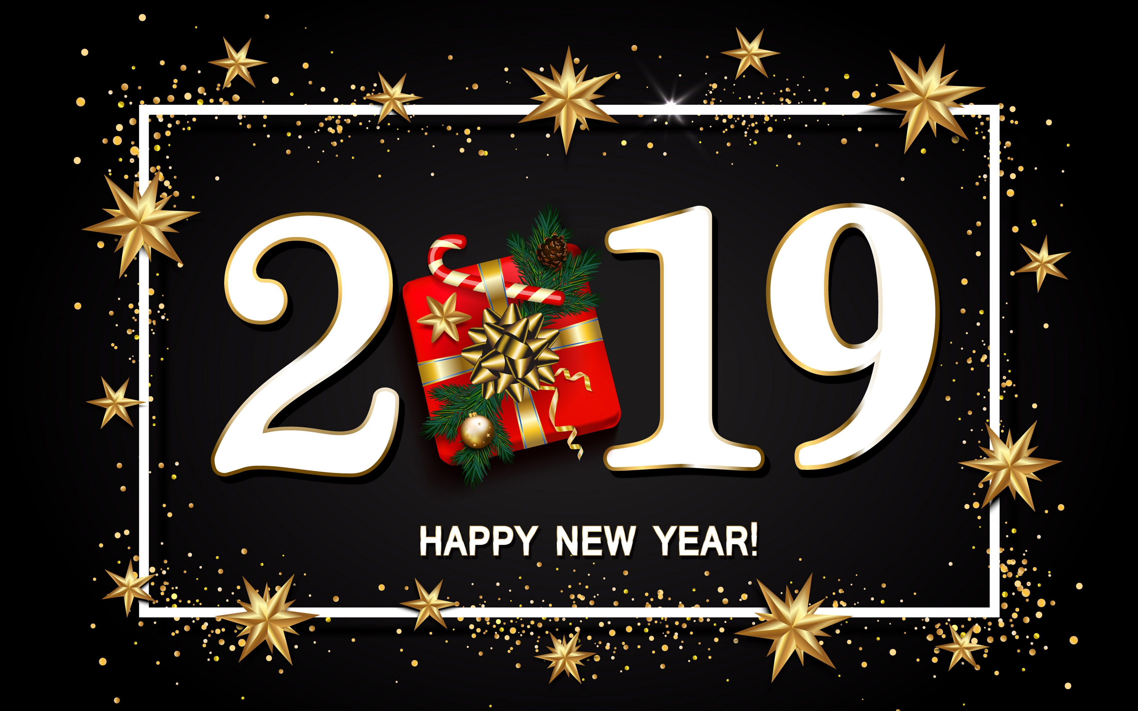Happy New Year 2019 Gift And Stars