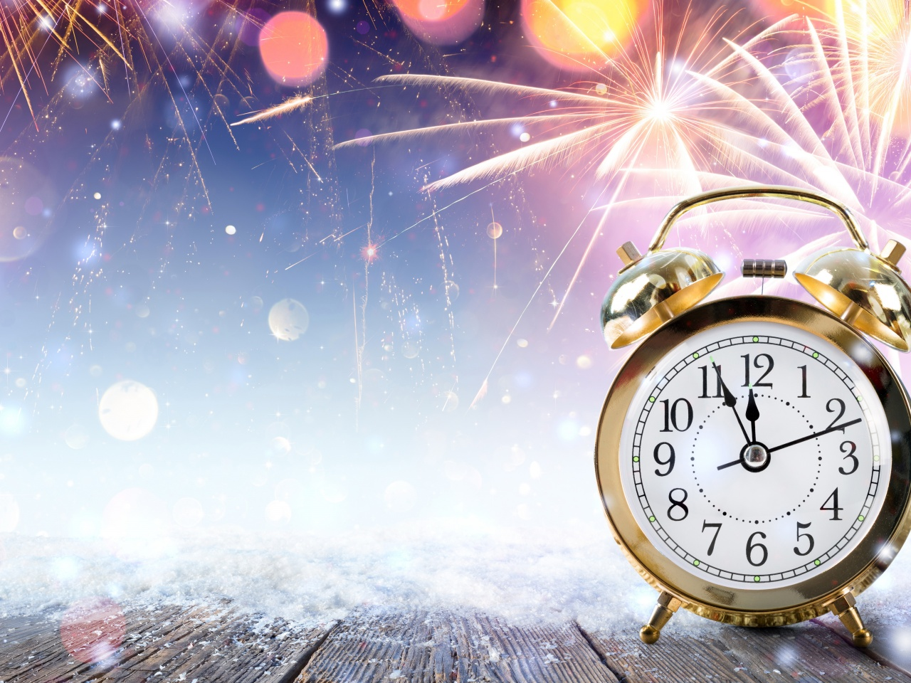 New Year Clock Fireworks