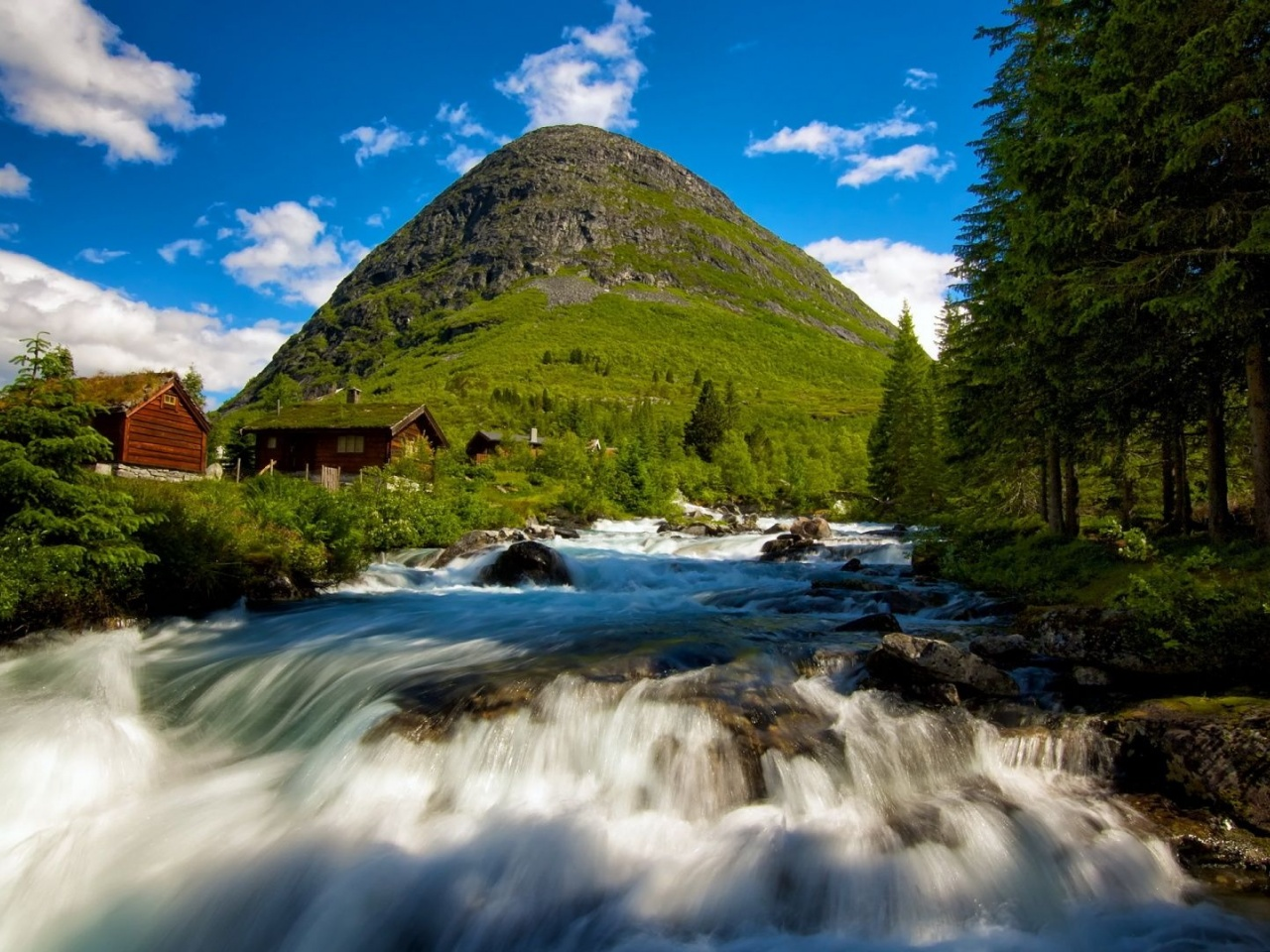 Norway Waterfall Nature Landscapes