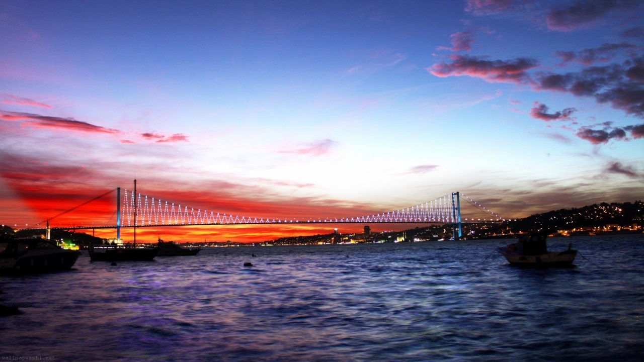 Turkey Sea Bridge Night Lights City Landscape
