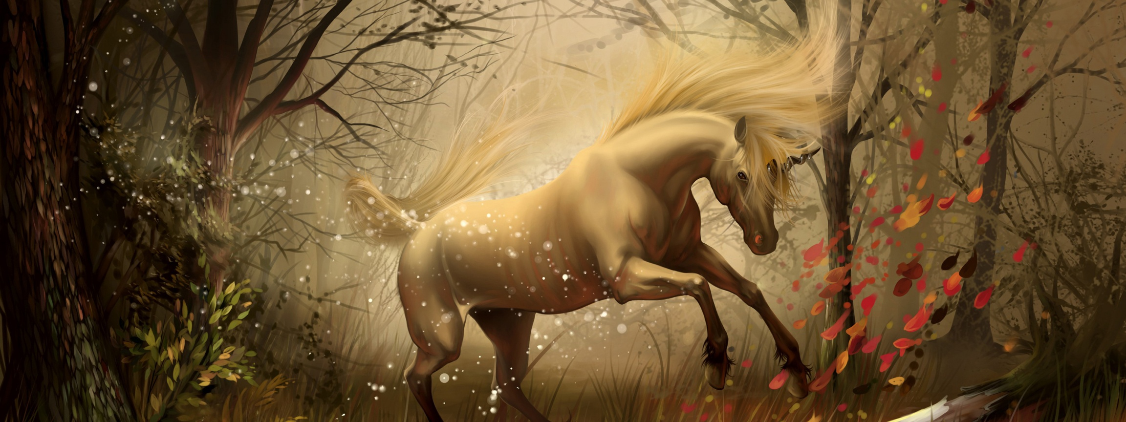 Unicorn In Fantasy Autumn